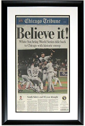 CHICAGO WHITE SOX 2005 WORLD SERIES CHICAGO TRIBUNE NEWSPAPER 10/27/05 - PROFESSIONALLY FRAMED 14x28 from Chicago Tribune
