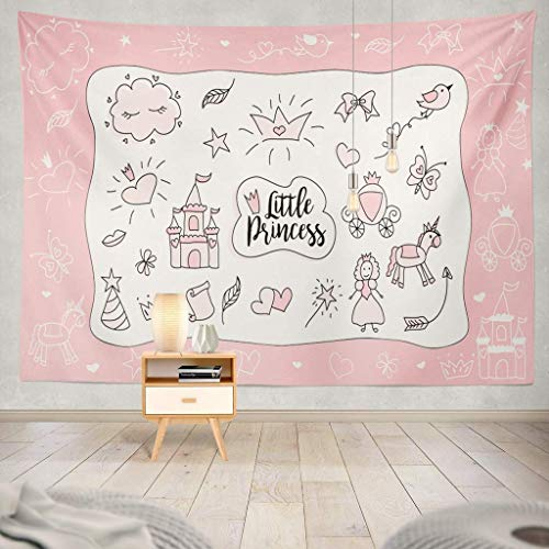 (KIMILT HEY Eco-Friendly Silky Tapestry Children Little Princess Doodle Sketch Cute Party Baby Shower Girl Birthday White Pink with Black FrameWall Hanging,Picnic)