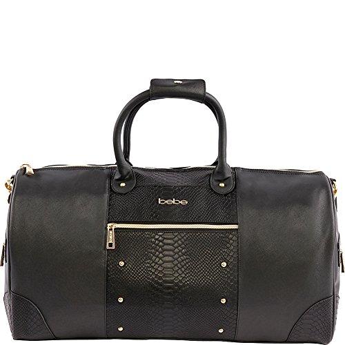 BEBE Ellisa Weekend Travel Bag for Women, Black Croc, One Size ()