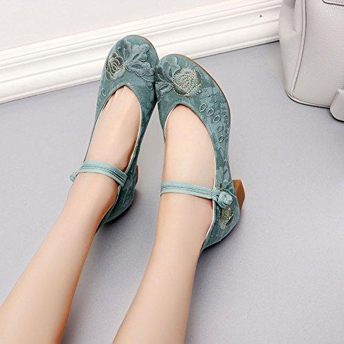 scarpe stile tacchi ricamato GTVERNH a scarpe in 35 cotone donna folk green pechino femminili spillo primavera da broccato scarpe t18wqw5y