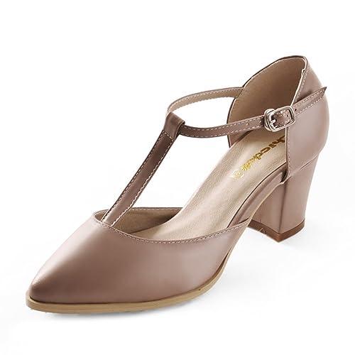 Profundas De Mujer Tacones Zapatos Con Moda Poco Tosca Punta 5RLj3A4q