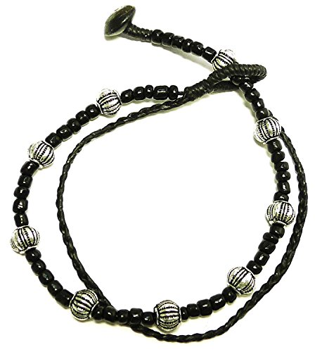 BDJ Handmade Pumpkin Beads Black Cord Anklet Bracelet 10 Inches (AkSPpk017)