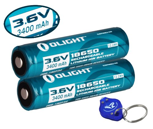 Two Olight 3400mAh Protected Button Top Rechargeable 18650 Batteries for Olight M22 M20S M18 M20X LED Flashlights and More by OLIGHT