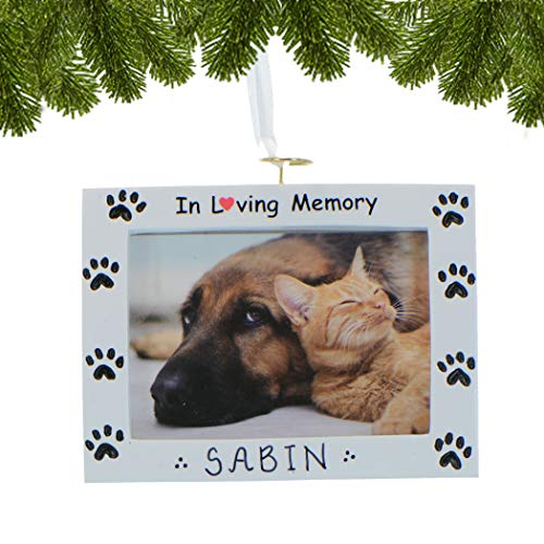 Personalized Rest in Peace Dog Picture Frame Christmas Ornament Tree 2018 - Generic Picture Display Paw Print - Breed Neutral Faithful Fluffy Remembrance Memory - Free Customization Elves