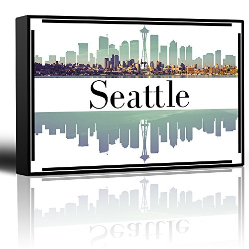 wall26 - City Skyline Series - Seattle - Colorful Urban Decor - Sunsets and Silhouettes Famous Buildings and Landmarks - Canvas Art Home Decor - 12x18 inches ()