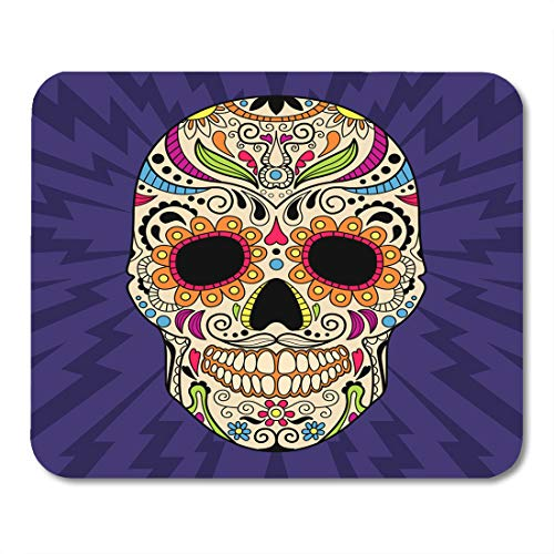Boszina Mouse Pads Colorful Flower Pink Sugar Mexican Skull The Original Pattern Blue Calavera Red Halloween Mouse Pad 9.5