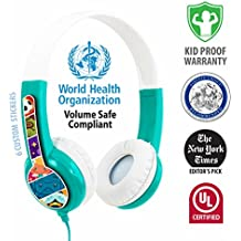 BuddyPhones Volume Limiting Kids Headphones | Durable, Comfortable & Customizable | Built in Headphone Splitter | Ideal for iPad, Fire, Computers and Tablets | Green