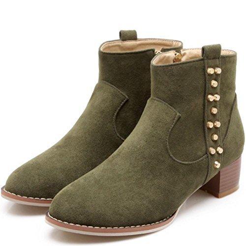 Boots High Stylish Women KemeKiss Heel 380 Zipper Side Block Booties Green Ankle gnIUwHqY