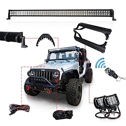 06 Tj 4' Kit (Racbox 1 X 50'' 288W LED Light Bar + 2 X 4'' 18W Light Bar + Upper Windshield Mounting Brackets for Jeep Wrangler TJ 97 - 06 + Wiring Kit)