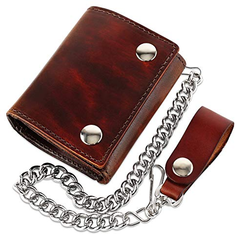 - RFID Blocking Men's Tri-fold Vintage Biker Cowhide Top Grain Leather Steel Chain Wallet,Snap closure, Made In USA,at315,Antique-brown