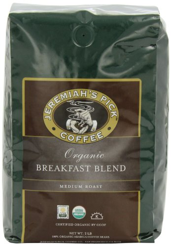 Jeremiah's Pick Coffee Organic Breakfast Blend Whole Bean Coffee, 32-Ounce Bag (Pack of 2)