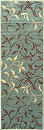 Ottomanson Otto Home Contemporary Leaves Design Modern Runner Rug with Non-Skid Rubber Backing,  Sage Green/Aqua Blue,  20\