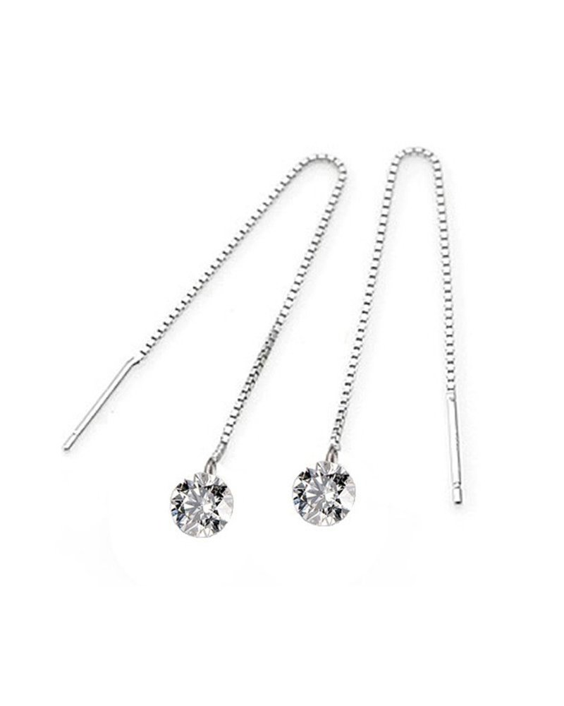 Ghome 925 Sterling Silver Drop Threader Earrings  Long Dangle style Created With 3D Sparkling Cubic Zirconia (CZ Pendant)
