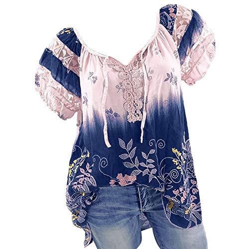Women Bohemian Vintage Short Sleeve V-Neck Lace Printed Tops Loose T-Shirt Blouse