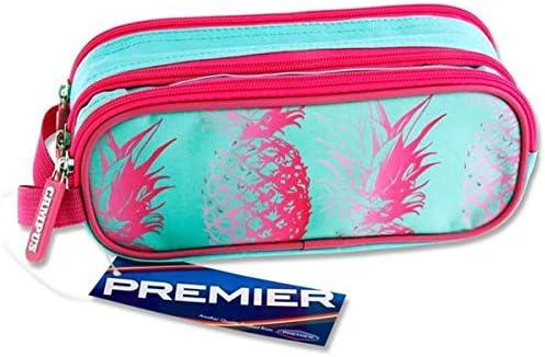 Premier Stationery C5616140 Pineapple Design Campus Oval 3 Pocket Zip Pencil Case