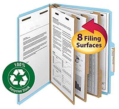"""Smead 100% Recycled Pressboard Classification File Folder, 3 Dividers, 3"""" Expansion, Letter Size, Blue, 10 per Box (14090)"""