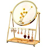 GLODEALS Decorative Makeup Mirror Metal Gold Round Makeup Vanity Mirror Perfect Dressing Table with Jewelry Tray Necklace Organizer Earrings Holder Tabletop Standing High Definition Mirror
