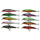 JSHANMEI 10pcs/lot 13cm 3D Fishing Eyes Hard Minnow Baits Life-like Swimbait With Two Treble HooksFishing Lures Bass Crankbait Tackle for Pikes/Bass/Trout /Walleye/Redfish