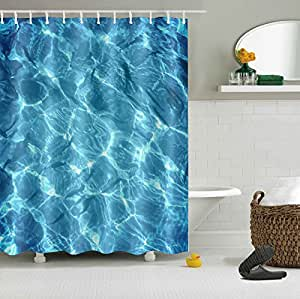 Cool clear water swimming pool decor shower curtain for Swimming pool shower curtain