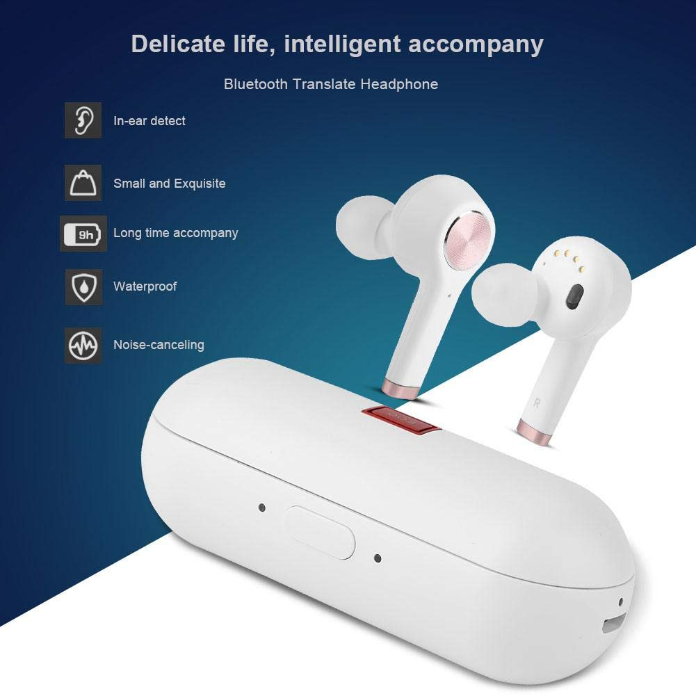 Translator Earbuds with Gift Charging Box,2 in 1 Bluetooth Headphone/ Real Time Wireless Language Translator Earphone Device Voice Translation Support 19 Languages Dual Mic & Noise Reduction(White) by fosa (Image #2)