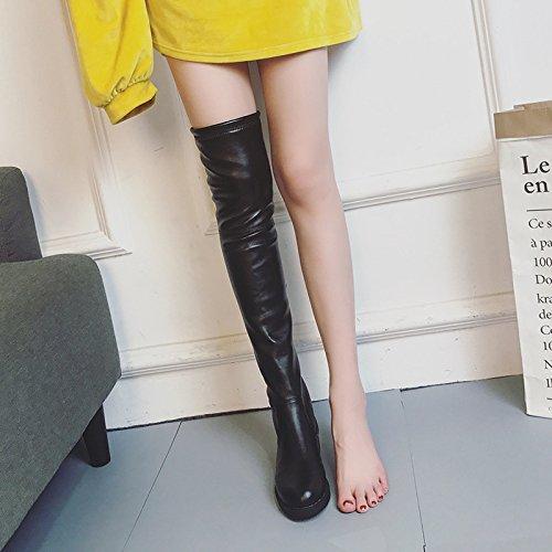 Rodilla HBDLH Invierno de Otoño Aspero El Tacones El De Mujer Y Ocho Black Thirty Zapatos Botas Elastico La Y Treinta Más Altos Botas nine Y 5ppnrf0q7