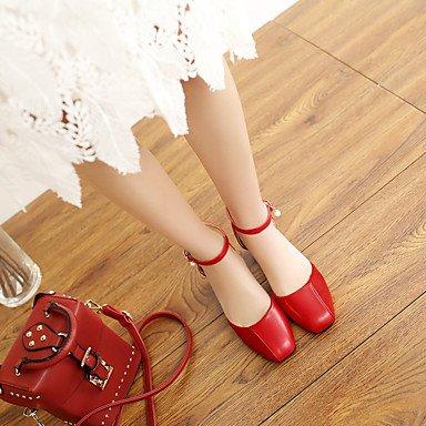 Le donne sexy elegante sandali donna tacchi Primavera Estate Autunno altri PU Office & Carriera Abito casual Chunky Heel perla nero rosso marrone chiaro , rosso , us6 / EU36 / UK4 / CN36