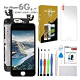 for iPhone 6 Screen Replacement Black 4.7 inch LCD Display with Touch Screen Digitizer Full Assembly + Front Camera + Earpiece + Free Screen Protector + Repair Tools Kit (Black)