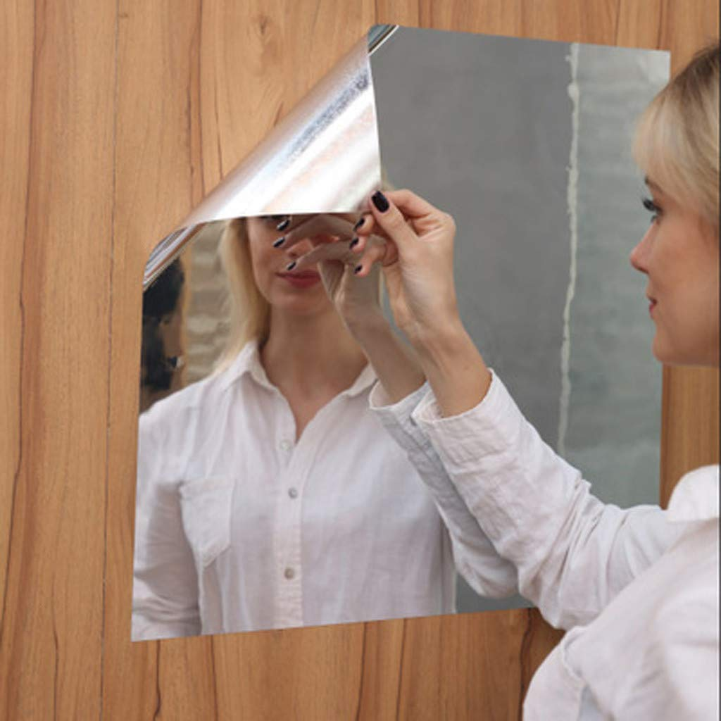 Healifty 4Pcs Self Adhesive Mirror Sheets Mirror Plastic Mirror Tiles Wall Stickers For Home Decor