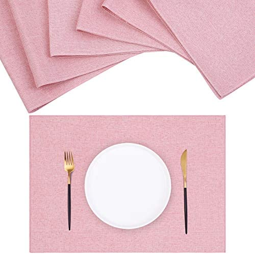 Ruisita 6 Pack Cotton Linen Placemats Double Layer Heat Resistant Placemats Table Placemats 18.5 x 13 Inches Kitchen Dining Table Placemats for Kitchen Table, Baby Pink
