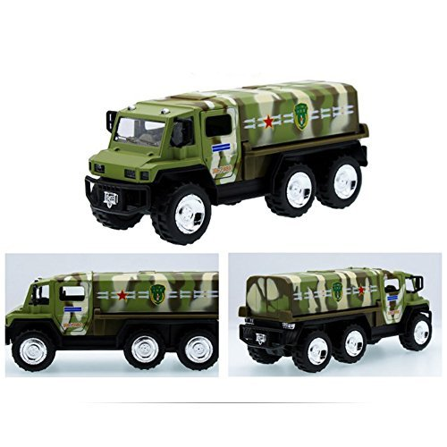Fashionwu 1:32 Alloy Military Truck Missile Transport Vehicle Model Toy Pull Back Car for Kids Gifts (Color Random)