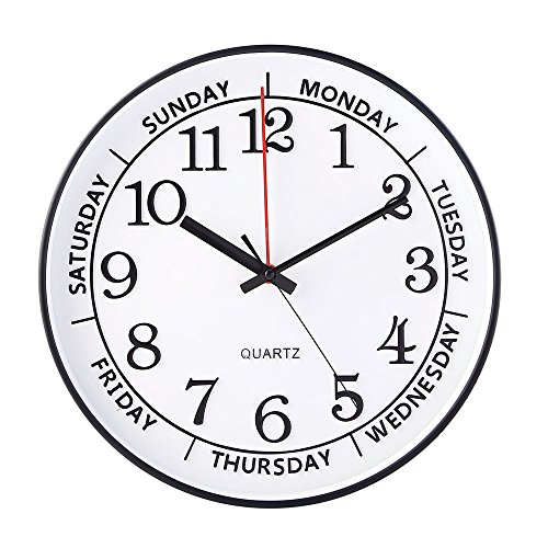 JOMPARIS 14″ Day of the Week Clock Large Decorative Battery Operated Round Wall Clock,Easy to Read Office/School/Home Clock(Black Color) For Sale