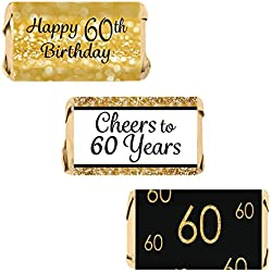 DISTINCTIVS 60th Birthday Party Miniatures Candy Bar Wrapper Stickers - Gold and Black (Set of 54)