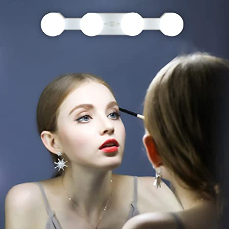 Portable Rechargeable LED Vanity Mirror Light with 4 LED Bulbs for Bathroom Dressing Room Vanity Table Cordless Makeup Lights
