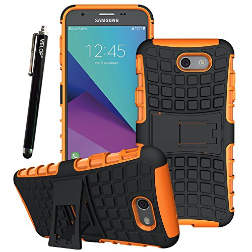 Case for Galaxy J7 2017, Galaxy J7 V Case, Galaxy J7 Prime Case, Galaxy J7 Perx Case, Galaxy J7 Sky Pro Case, Galaxy Halo Case, MELOP Dual Layer with Kickstand - Lenses Plastic Removing Scratches From
