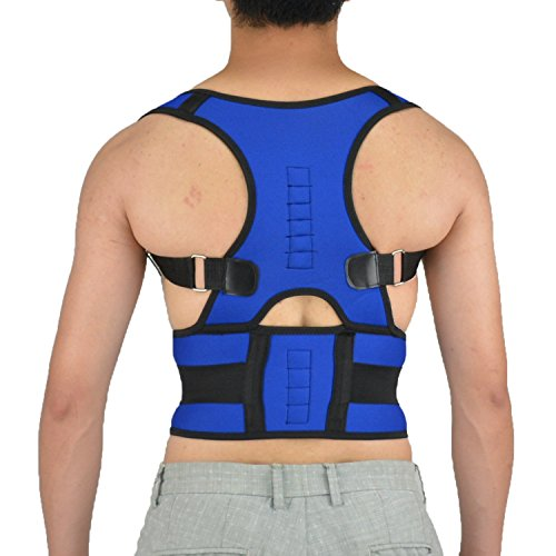 Posture Corrector Magnetic Adjustable Clavicle Brace Shoulder Support Brace for Improve Bad Posture, Thoracic Kyphosis, Shoulder Alignment, Upper Back Pain Relief for Men and Women (M, Blue) (Left Shoulder And Neck Pain Causing Headaches)