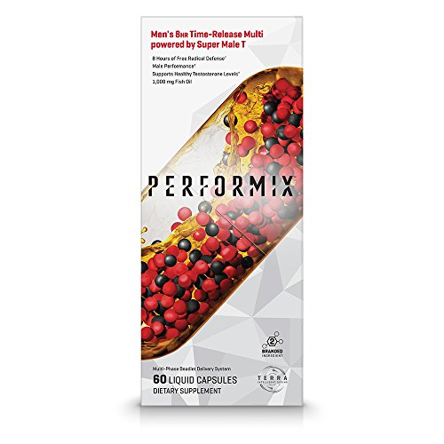 PERFORMIX Men's 8HR Time-Release Multi powered by Super Male T, Performance Multivitamin with Testosterone Booster, Free Radical Defense, Energy, Mental Focus - 60 Capsules by PERFORMIX