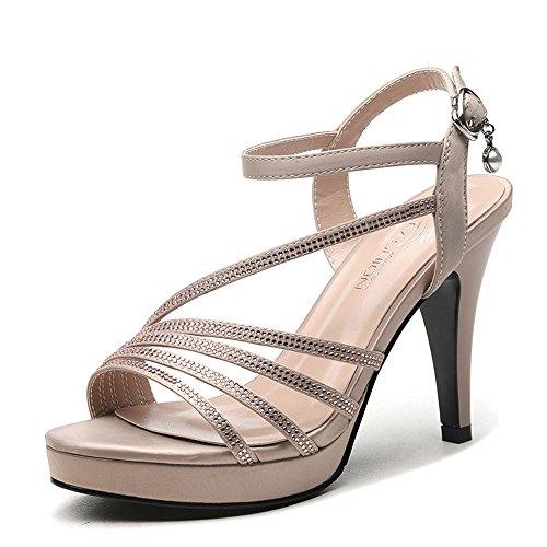 Chanclas MEIDUO sandalias Sandalias Zapatos de mujer PU Primavera Verano Confort Novedad Tacón alto para Boda y Noche cómodo Caqui