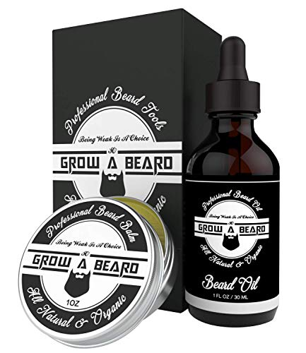 Beard & Mustache Balm and Oil Grooming Kit - All Natural and Organic Argan & Jojoba Oils - Leave-in Conditioner Premium Wax