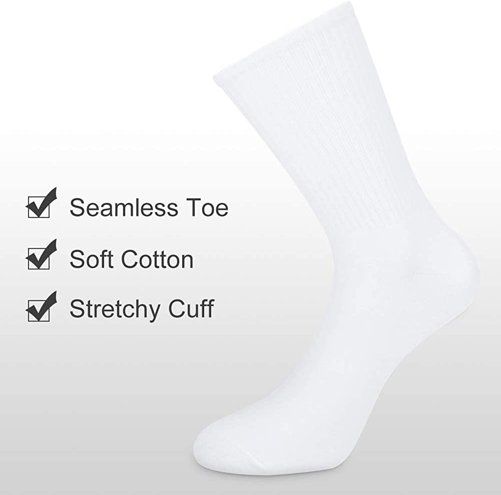 Womens 6 Pairs High Ankle Sock Super Soft Cotton Comfy Casual Dress Crew Outdoor Running Volleyball Sports Socks
