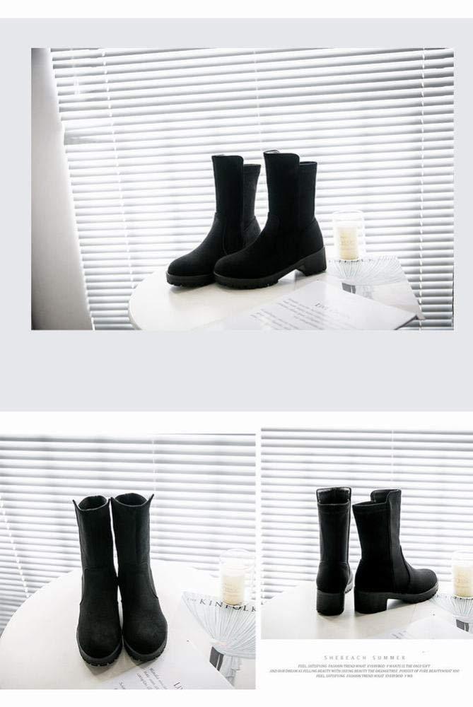 SED SED SED Zapatos - Gruesos con Botas de Tacón Bajo de Cuero Nobuck/Nieve de Invierno Antideslizante/Botas para Mujer 35-43,Negro,39 2d2a35