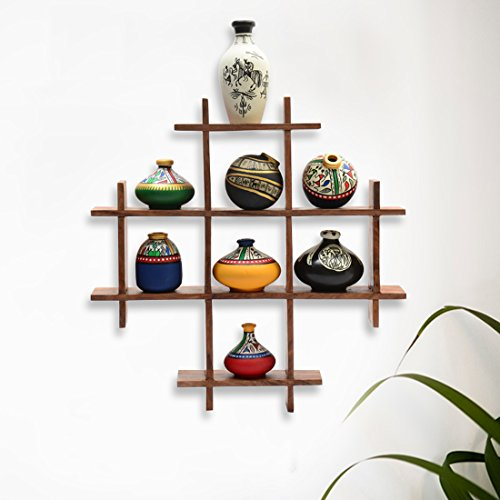 ExclusiveLane 8 Terracotta Warli Handpainted Mini Pots With Sheesham Wooden Frame Wall Hanging -Indian Decorative Items For Home Gift Item Wooden Wall Art Decor Decorative Shelves Vases Home Decor