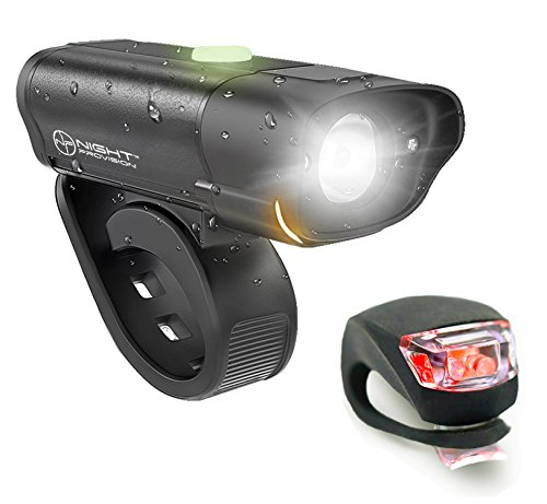 Night Provision POWERFUL BX-300 CREE L2 Bike Light Set USB Rechargeable Front Headlight w/Amber Side Alert + Bonus Free Rear LED Bike Light by Night Provision