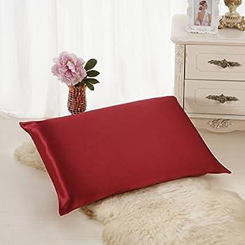 ALASKA BEAR Luxurious 25 momme Silk Pillowcase, 100% Mulberry Silk Pillow Cover, King (1, Burgundy red)