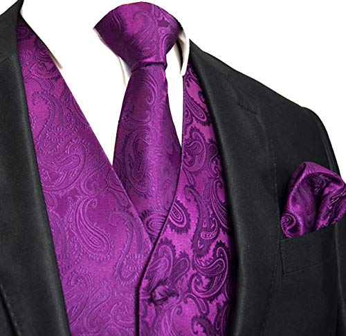 Men's 3pc Paisley Vest (L (Chest 44), Dark Purple) ()