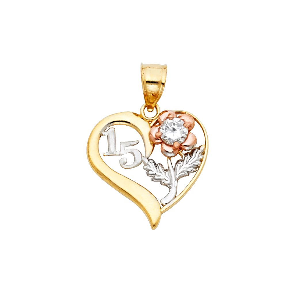 Million Charms 14k Tri-color Gold Heart Charm with White 15 and Rose Flower with CZ Accented Charm Pendant 18mm x 17mm