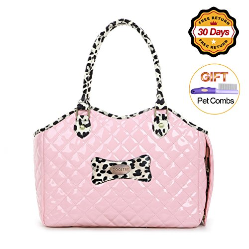 Dog Carrier Purse Pet Travel Bag Cat Portable Handbag,Soft Sided Tote with 2 Fleece Pads for Small Pets,Come with a Pet Comb,Up to 15lbs,Go Traveling Hiking Shopping with Your Doggy (Pink)