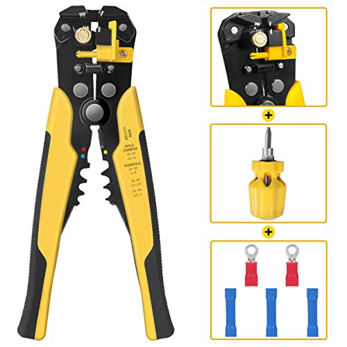 Wire Stripper ,24-10 AW/ 34-3 Gauge/ 0.2-6 mm 8 Inch Self-adjusting Cutter Crimper Multi Pliers,With cutting,crimping…