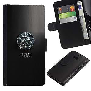 YiPhone /// Tirón de la caja Cartera de cuero con ranuras para tarjetas - Creciendo Stron Tyrell - HTC One M8