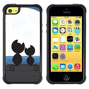 LASTONE PHONE CASE / Suave Silicona Caso Carcasa de Caucho Funda para Apple Iphone 5C / Cute Cats Moon