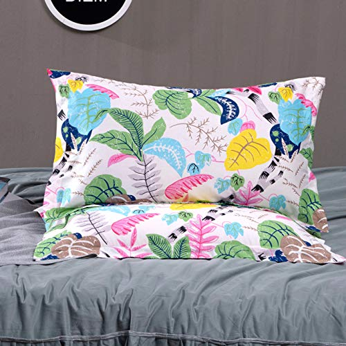 TEALP Standard Quilted Pillowcases Tropical Yellow Flower and Blue Leaves on Colorful Decorative Pillow Case Cover Super Soft and Warm 100% Cotton Home Decor 20x30 Inches Set of 2 White Pink
